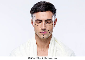 augenpaar, linien, markiert, plastik, geschlossene, chirurgie, mann