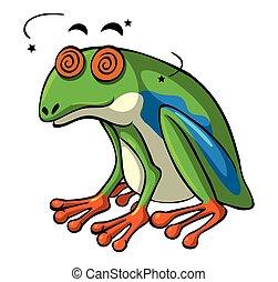 augenpaar, schwindlig, grüner frosch