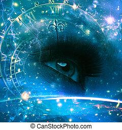 augenpaar, von, der, universum, abstrakt, umwelt,...