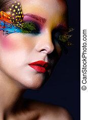 augenwimpern, frau, mode, feder, make-up