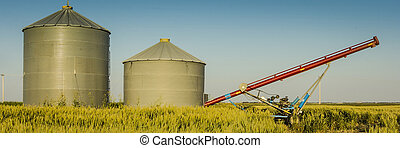 Auger and Grain Bins - Pair of grain bins and an auger in...