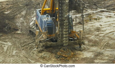 auger drilling rig - drilling rig drills soil time lapse