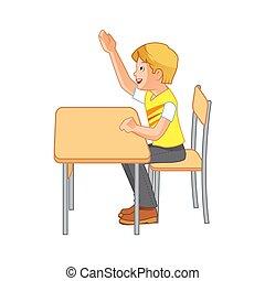 augmentation, étudiant, mains, leur