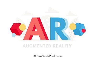 augmented, concept., szó, nagy, tervezés, transzparens, ár,...