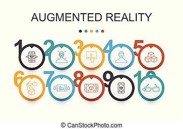 augmented, egyszerű, tényleges, app, tervezés, ikonok,...