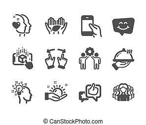 augmented, gens, ensemble, idée, femmes, vecteur, group., icônes, tel, réalité
