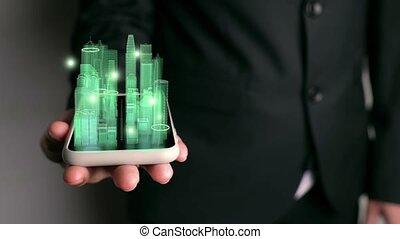 augmented, homme affaires, ville, 3d, technologie, réalité, ...