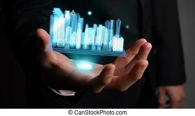 augmented, modèle, projection, homme affaires, technologie, ...