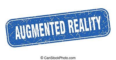 augmented, quadrat, wirklichkeit, grungy, zeichen, blaues, ...