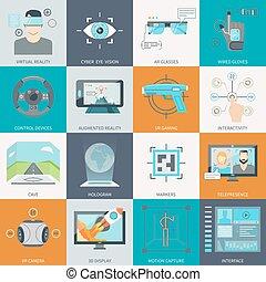 augmented, realidad, virtual, iconos