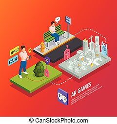 Augmented Reality AR Games Isometric Poster