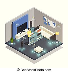 Man wearing augmented reality glasses in modern furnished room isometric composition 3d vector illustration