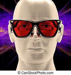 Augmented reality - Female cyborg head wearing yellow ...