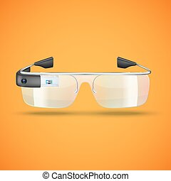 Illustration of modern augmented reality glasses with camera
