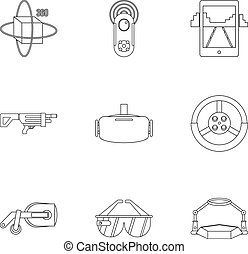 Augmented reality icons set, outline style - Augmented...