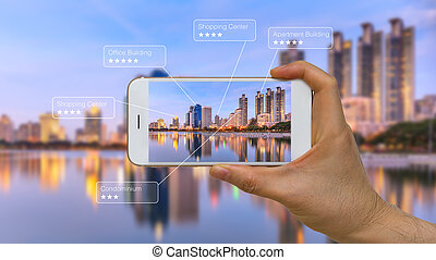 Augmented Reality or AR App on Smart Device Screen - Smart...
