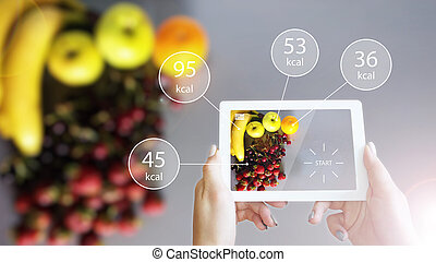 Augmented Reality or AR App Showing Nutrition Information of Food on Tablet