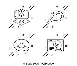 Augmented reality, Smile chat and Whistle icons set. Seo strategy sign. Vector
