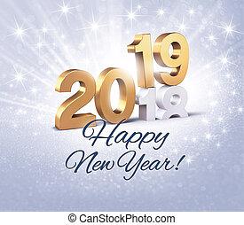 augurio, 2019, anno, nuovo, scheda, felice