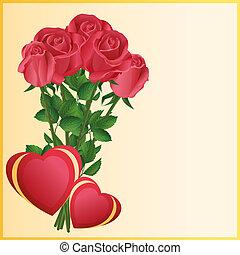 augurio, due, rose, rosso, cuori, scheda