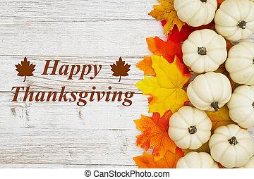 augurio, foglie, bianco, cadere, ringraziamento, zucche, felice