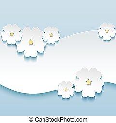 augurio, fondo, sakura, floreale, fiori, scheda, 3d