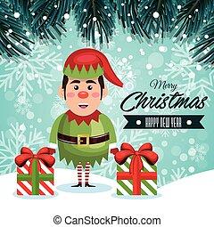 augurio, natale, elfo, e, regali, con, nevicata, disegno