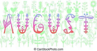 august., 装飾用である, 単語, 引用, object., calligraphic, ベクトル, zentangle, 手書き