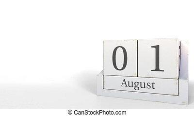 August 1 date on wooden blocks calendar. 3D animation -...
