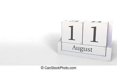 August 11 date on vintage cube calendar, 3D animation -...