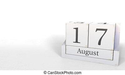 August 17 date on vintage cube calendar, 3D animation -...
