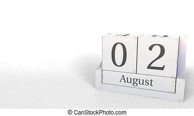 August 2 date on wood bricks calendar. 3D animation - Wooden...