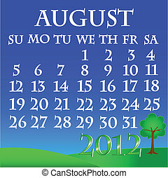 August 2012 landscape calendar