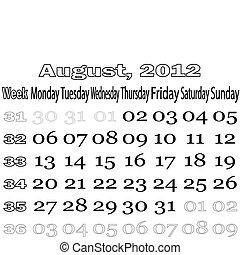 August 2012 monthly calendar