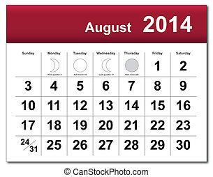 August 2014 calendar - EPS10 vector file. August 2014...