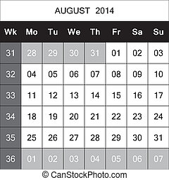 August 2014 Calendar Planner with number for each Weak