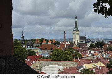 Old stoned streets, houses and red roofs of old Tallinn in the summer day.
