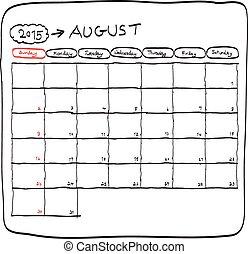 august 2015 planning calendar vector, doodles hand drawn