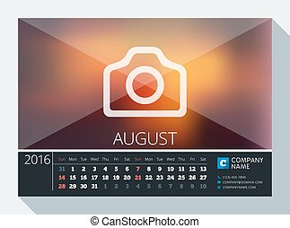 August 2016. Vector Stationery Design. Print Template. Desk Calendar for 2016 Year. Place for Photo, Logo and Contact Information. Week Starts Sunday