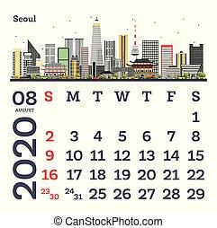 August 2020 Calendar Template with Seoul City Skyline.