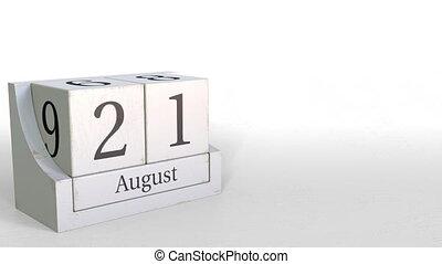 August 21 date on vintage cube calendar, 3D animation -...