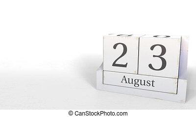 August 23 date on retro blocks calendar, 3D animation -...