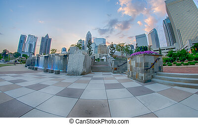 August 29, 2014, Charlotte, NC - view of Charlotte skyline...