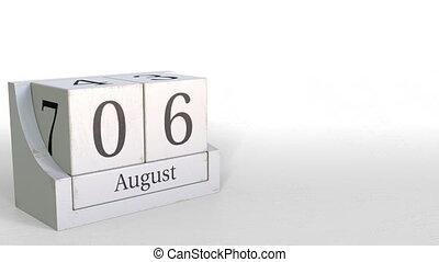 August 6 date on vintage cube calendar, 3D animation -...