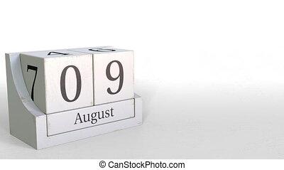 August 9 date on wooden blocks calendar. 3D animation -...