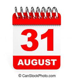 august., arrière-plan., 31, blanc, calendrier