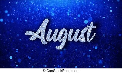 August Blue Text Wishes Particles Greetings, Invitation, ...
