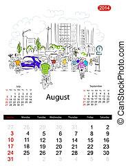 august., bosquejo, ciudad, calles, diseño, calendario, su, 2014
