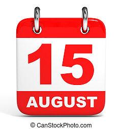 august., calendar., 15