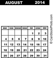 August calendar 2014